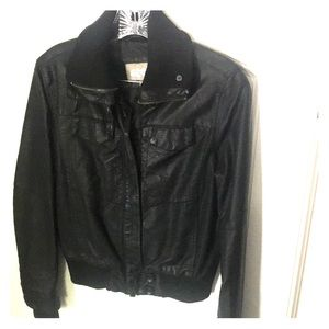 Faux Black leather bomber jacket